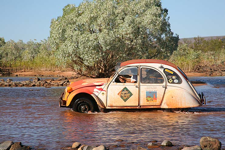 Citroen crossing the Pentacost River, Western Australia